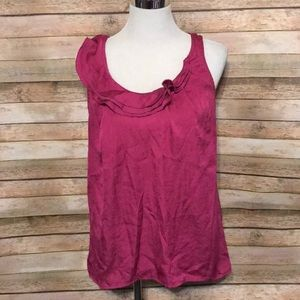 Pink ruffle neckline top